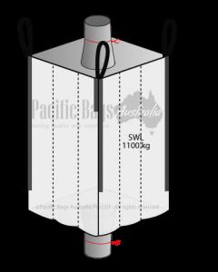 1.1 Tonne - Spout Top Spout Bottom - Baffle Bulk Bag - 105 x 105 x 180 CM