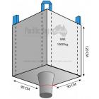 1.0 Tonne - Open Top Spout Bottom - Bulk Bag - 90 x 90 x 120 CM